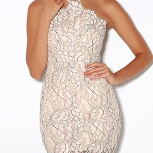 DELICATE DARLING BEIGE AND IVORY LACE BODYCON DRES